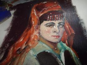 布面油画--维族女人--无款,但同批画家为刘英画--大幅--品以图为淮