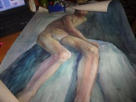 布面油画--男人裸体--款为刘英画--大幅--品以图为淮