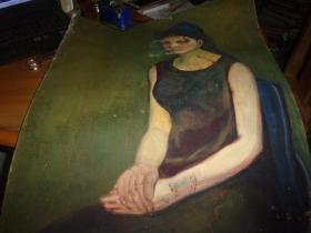 布面油画--女人坐像--无款,但同批画家为刘英画--大幅--品以图为淮