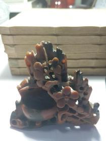 石4 清雕件文房墨花红青田(稀有)