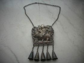 清代【麒麟送子】银挂锁!双面工艺完整一套!挂锁尽尺寸8/8厘米