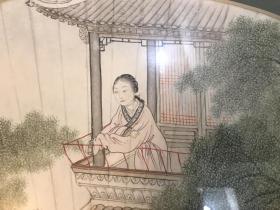 民国海派名家嘉兴潘琪(潘振镛子)精品仕女扇面 工笔 带镜框