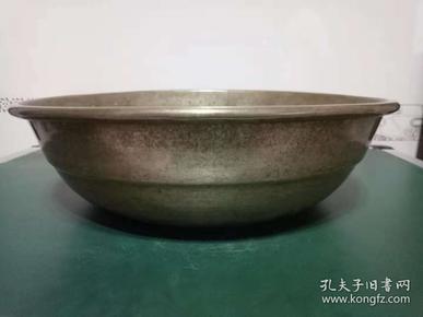 纯铜铜盆·厚铜胎铜盆·老式大铜盆,【包老】重量875克.