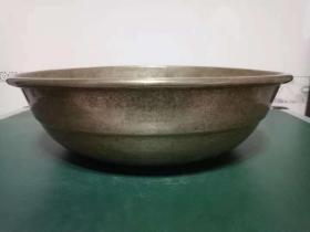 纯铜铜盆·厚铜胎铜盆·老式大铜盆,赌博网:【包老】重量875克.