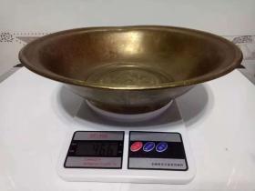 纯铜铜盆·精美浮雕福字铜盆·高足果盆【包老】重量466克