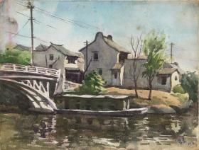特价:吕蒙《郊外民居》水彩  38×29cm 1980年  保真
