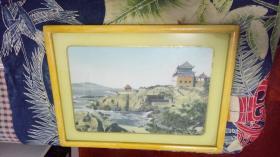 六、七十年代中国杭州东方红丝织厂出品《青岛水产博物馆》织锦画,织锦尺寸27*40厘米,有框,品相一流。