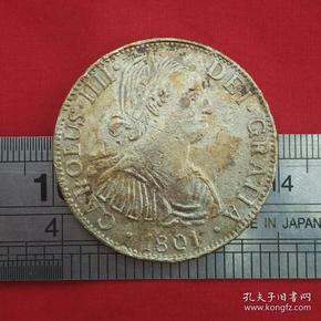 西班牙殖民墨西哥查尔斯四世1801硬币镍币铜牌铜章纪念章珍藏收藏