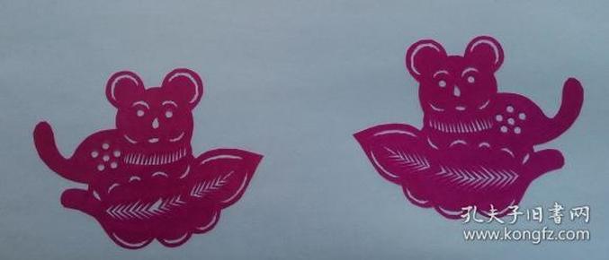 凤翔传统民间剪纸--窗花4(1对)