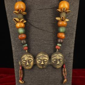 西藏牧区收老藏多宝项链一条    重323克   并起啦长35厘米