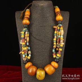 西藏牧区收老藏多宝项链一条    重317克   并起来长28厘米