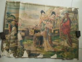 民国烟标广告画,梁夫人桴鼓战金山有残。75/52