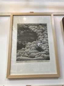 当代著名版画艺术家、美术理论家-闻松先生石版画代表作品《心墙记》系列之一  包真!