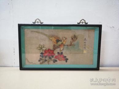 漂亮精美的文革花鸟纹贝雕画