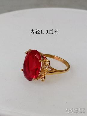 少见的天然红宝石K金女士戒指