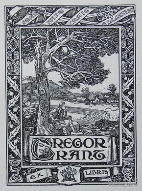"""""""新艺术名作""""英国艺术家""""Harold E.H.Nelson""""线刻藏书票—《树下休息的男人》1904"""