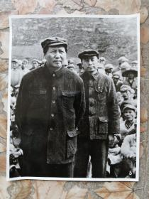 【黑白老照片】《毛主席和周总理》合影24.5*19.5cm