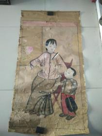 民国半印半绘母子图年画114/60