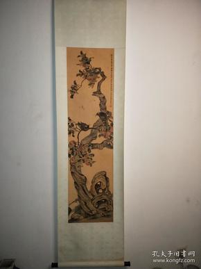 清代手绘花鸟老画一幅,画工精湛,包老到代