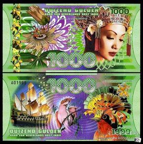 全新UNC 荷属东印度1000盾  塑料钞 外国钱币 纸币
