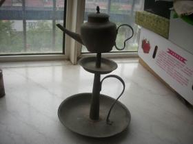 民国-灯台型【铜温酒器】酒壶一套!造型奇特,高28厘米,底径18厘米