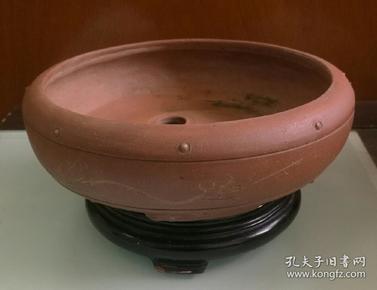 早期鼓钉花卉紫砂花盆