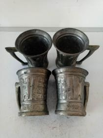 纯紫铜鎏锡酒杯·水杯·手把茶杯·四个一套·国外回流老物件·稀少包老保真·四个重量538克
