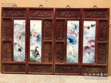 《刘雨岑》作品红木镶瓷板画荷塘清韵