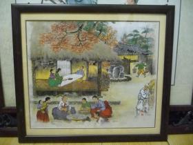 朝鲜民俗【请注意是印刷品不是原画】长36厘米,宽30厘米。拆框卷筒邮寄