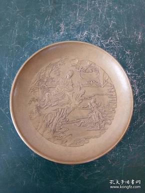 純銅盤子·浮雕雕刻童子拜觀音銅盤·筆洗