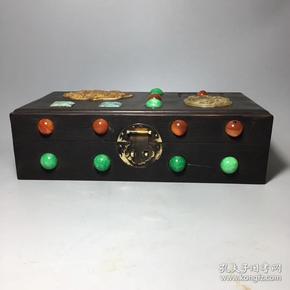 古玩 收藏老木器黑檀木镶嵌和田玉翡翠宝石首饰盒