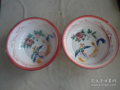 凤凰牡丹搪瓷盆子