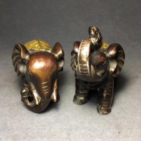 开光纯铜大象摆件一对吸水象招财象家居装饰品摆件单个长14厘米,宽8厘米,高11.5厘米总重1335克