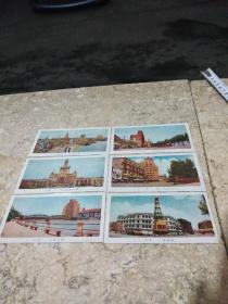 50年代上海风景名片,彩色一组6张,品相一流如图,售出不退