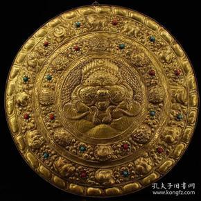西藏寺院收老纯铜皮纯手工打造镶嵌宝石鎏金兽头辟邪唐卡 坛城