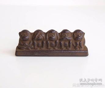 日本铁器人生五猿五不猴镇纸