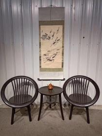 黑檀木梳背圈椅三件套,做工精细,样子漂亮,尺寸品相如图
