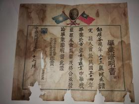 民国三十五年北平市立女子职业中学校毕业证明书