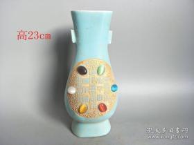 乡下收的宋代镶嵌宝石汝窑.瓷瓶.0