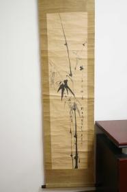 竹 水墨画 回流 日本技术装裱 老木轴头 立轴 卷轴 老物件