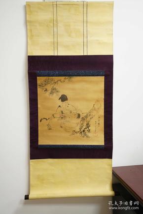 绢本寿星 福寿老人 人物画 松树 水墨画 国画 日本回流字画 立轴 卷轴 老物件 礼物