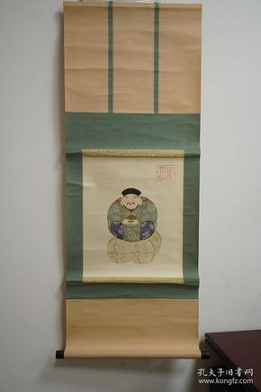 日本丰收福神画 人物画 和式装饰画 国画 回流字画 老木轴头 立轴 卷轴