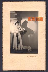 民国老照片,吉芬小姐的婚纱照,国际艺术人像照相馆