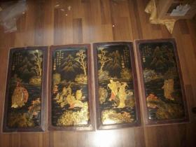 清代-手绘描金【山水八仙人物】画板4块一套!每块尺寸54/27厘米