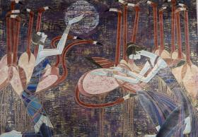 """著名画家、中国现代重彩画代表人 丁绍光 签名套色人物版画""""月夜之舞""""作品一幅  (尺寸:72*130cm)HXTX106709"""
