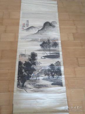 峡江烟雨  周半款 乙丑年 装裱180*58厘米 画心116*52厘米