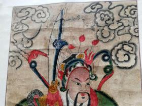 清代廟畫 關溫二帥 尺寸  108x52  清代手繪