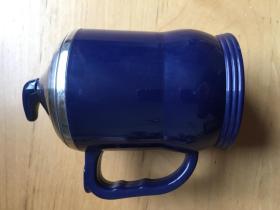 马克杯带盖 不锈钢内胆塑胶家用口杯   深蓝色 (企业定制)