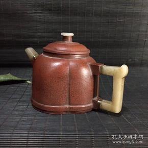 旧藏杨彭年精制镶玉紫砂壶一把,具体尺寸看图;