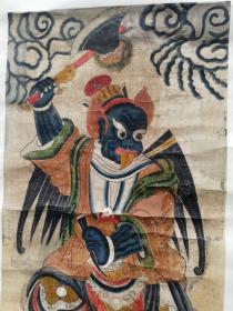 清代廟畫 雷震子  尺寸108x52 清代手繪